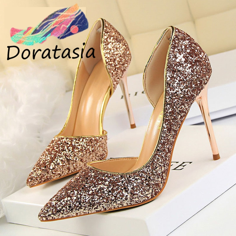 DORATASIA Pumps Women Footwear Wedding-Shoes High-Heels Glitters Shallow Sexy Bling Summer