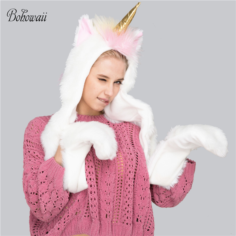 BOHOWAII Unicorn Hat Scarf Set For Girls Winter Hats For Women With Pockets Hats Scarves Halloween New Yearl Echarpe