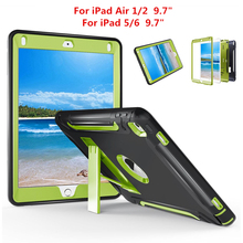 For iPad Air 1 2 Case Heavy Duty Shockproof Armor Skin Silicon+PC Rubber Holder Stand Cover For iPad 5 6 A1474,A1475,A1566,A1567 2016 new shockproof heavy duty case for ipad 2 3 4 protect skin rubber hybrid silicon pc cover cases