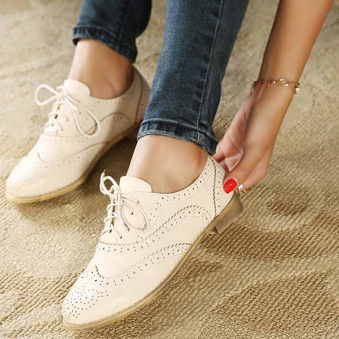 Hot 2014 New Fashion Ladies Beige Brown Cute Ballet Casual Womens Shoes Hollow Loafers Low Heel Comfort Lace-up Flats 5 - Fashionselling store
