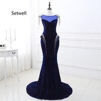 Setwell Vintage Royal Blue Evening Dresses Illusion Neckline Custom Made Mermaid Prom Dress High Quality Velvet Evening Gown
