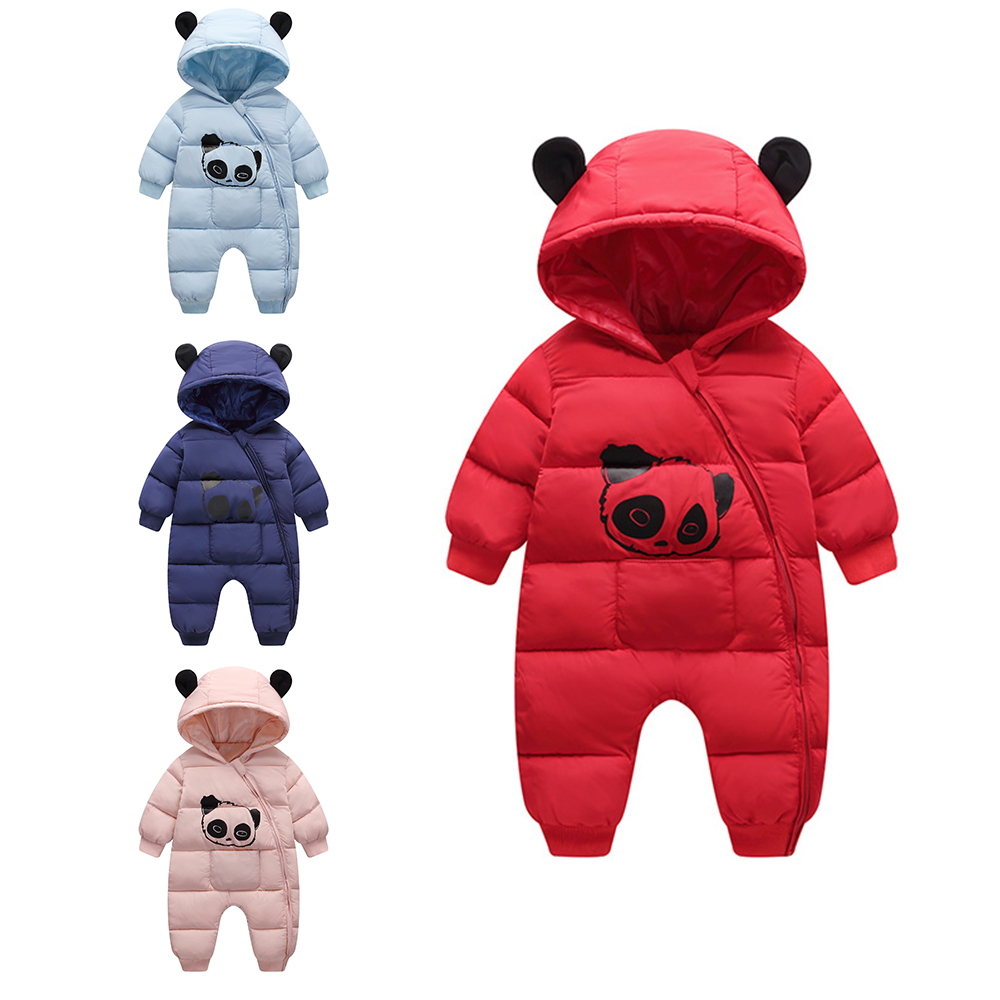fa57b6ee1212 New Babies Newborn Baby Clothes Panda Baby Girl Boy Rompers Hooded Plush  Jumpsuit Winter Overalls for Kids Roupa Menina Costume