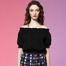 Free Shipping Jungle Me 2017 Spring New Black Elegant Strapless Sexy Loose Puff Sleeve Ruffle Vintage Blouses Women Clothing