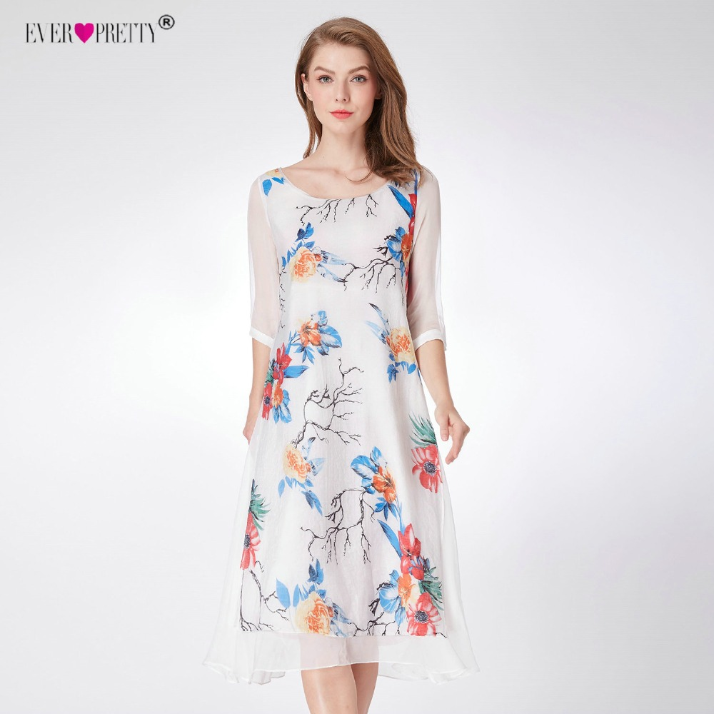 Women s Loose Cocktail Dresses Ever Pretty AS04000 Printed Round Neck Half  Sleeves knee-Length Party 90286f523af3
