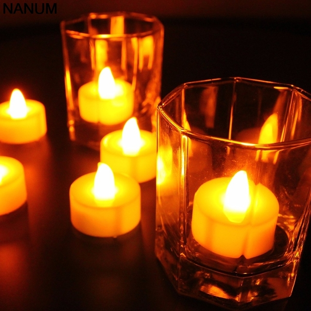 12pcs Led Candle Tea Light Lamp Realistic Battery Ed Flameless Candles Party Wedding Candels Safety