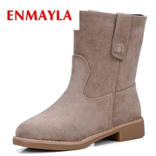 ENMAYLA 2018 New style Vintage Martin boots half ankle short boots genuine leather boots/women motorcycle snow boots ZYL080 half boots british passport half boots