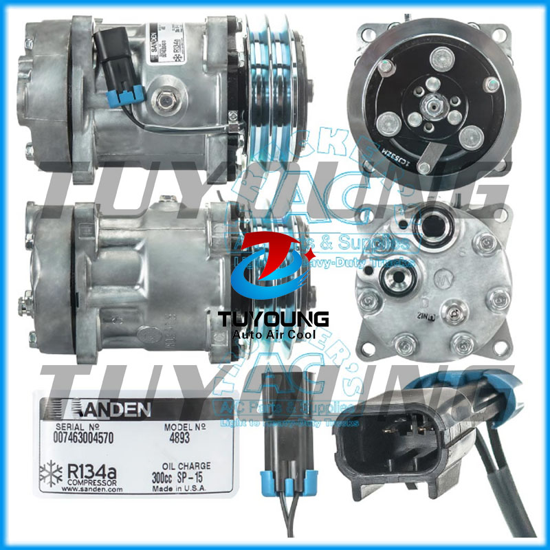 Factory direct sale Auto AC 7H15 Compressor FOR SANDEN 4717 Volvo 8082270 132mm 2pkFactory direct sale Auto AC 7H15 Compressor FOR SANDEN 4717 Volvo 8082270 132mm 2pk