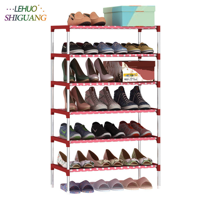 7 Layers Shoe Rack Non woven Galvanized steel pipe shoe ...
