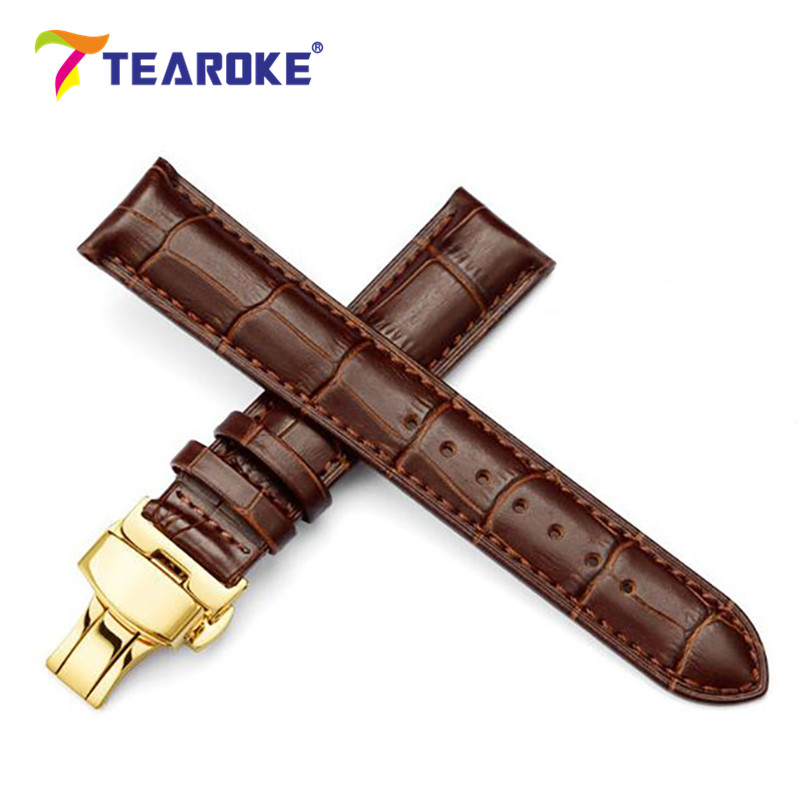TEAROKE Genuine Leather Watch Band 18-24mm Gold Butterfly Deployant Buckle 316L Stainless Steel Clasp Strap Watch Accessories watch band strap butterfly pattern genuine leather deployant buckle bracelet brown black watchbands 18 24mm
