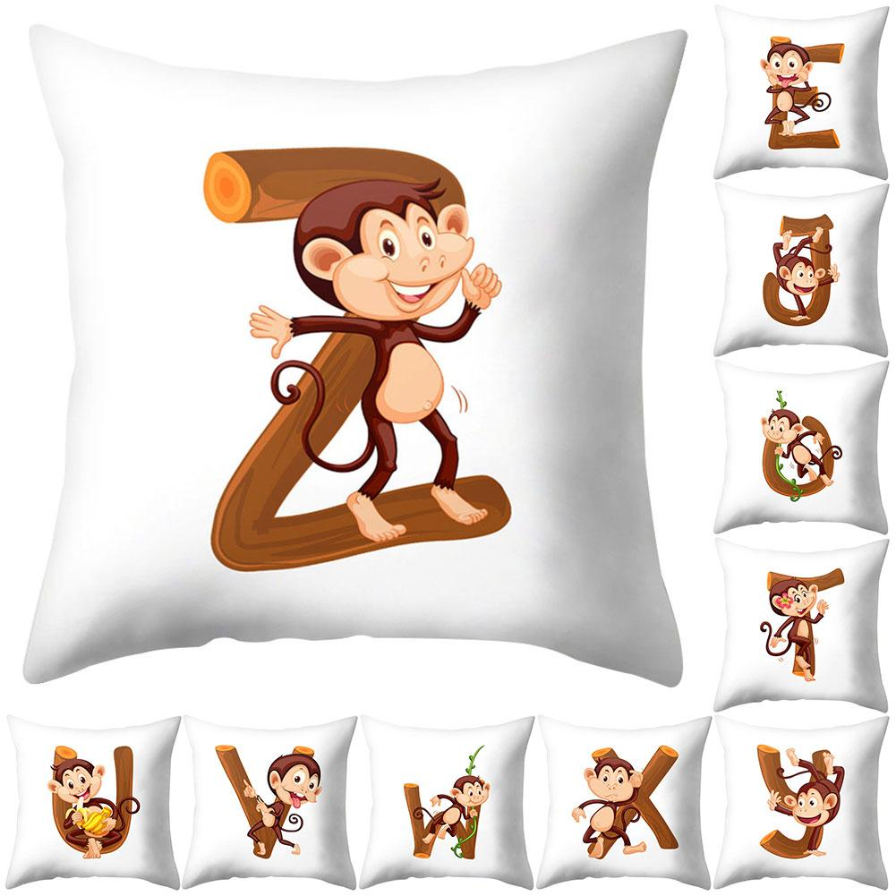 30# High Quality Monkey English Letter Design Pillow Case Cushion Cover Sofa Bed Car Cafe Office Decor Home Textile