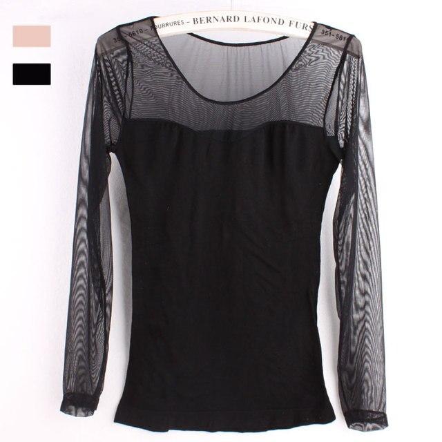Dunne Zwarte Trui.Naadloze Zwarte Vrouwelijke Gaas Katoen Trui Jas Shirt Afslanken