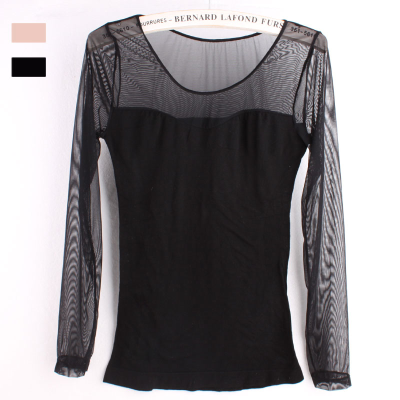 Seamless Black Female Gauze Cotton Sweater Coat Shirt Slimming Underwear New Transparent Thin Sexy Long Johns Women Inner Wear