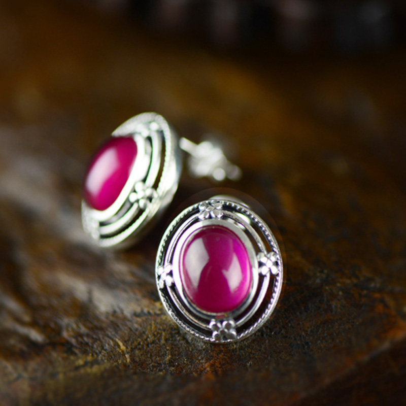 Real Silver 925 Jewelry Ruby Ethnic Boho Geometric Stud Earrings For Women Accessories Christmas Jewelry Orecchini Donna