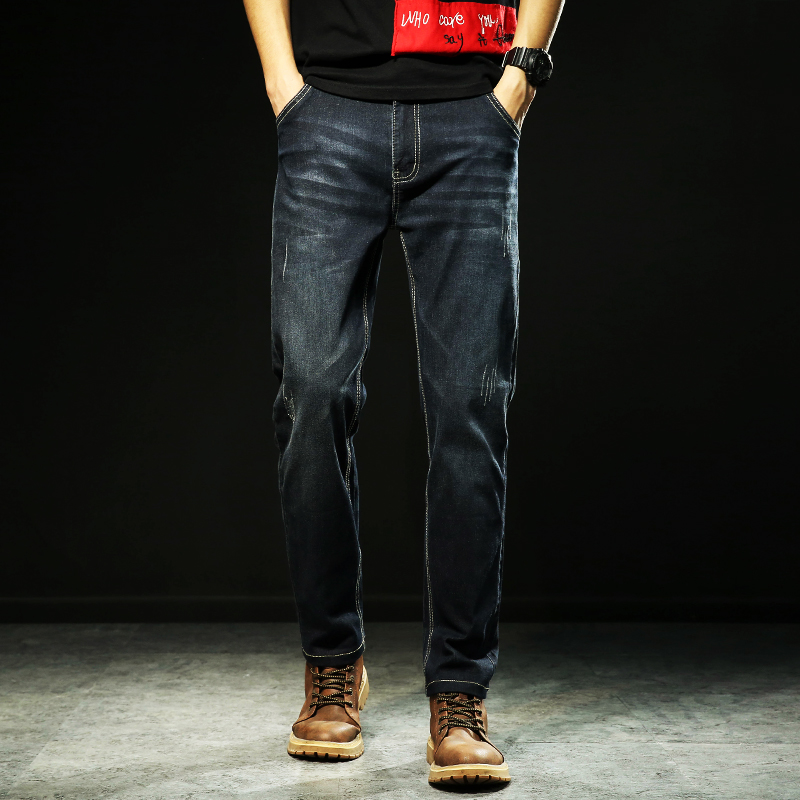 2019 New Mens   Jeans   Smart Casual   Jeans   Regular Fit Straight Leg Elasticity   Jeans   Stretch Long Trousers Big Size 48