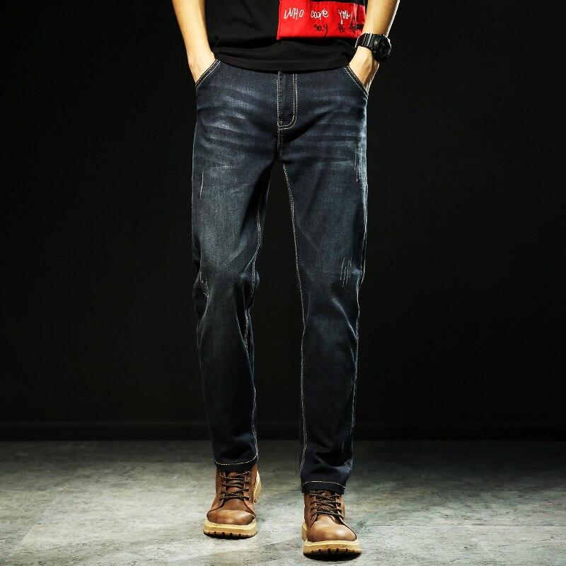 2019 Nouveau Hommes Jeans Smart Jeans décontractés Regular Fit Straight Leg Élasticité Jeans Stretch Pantalons Longs grande taille 48