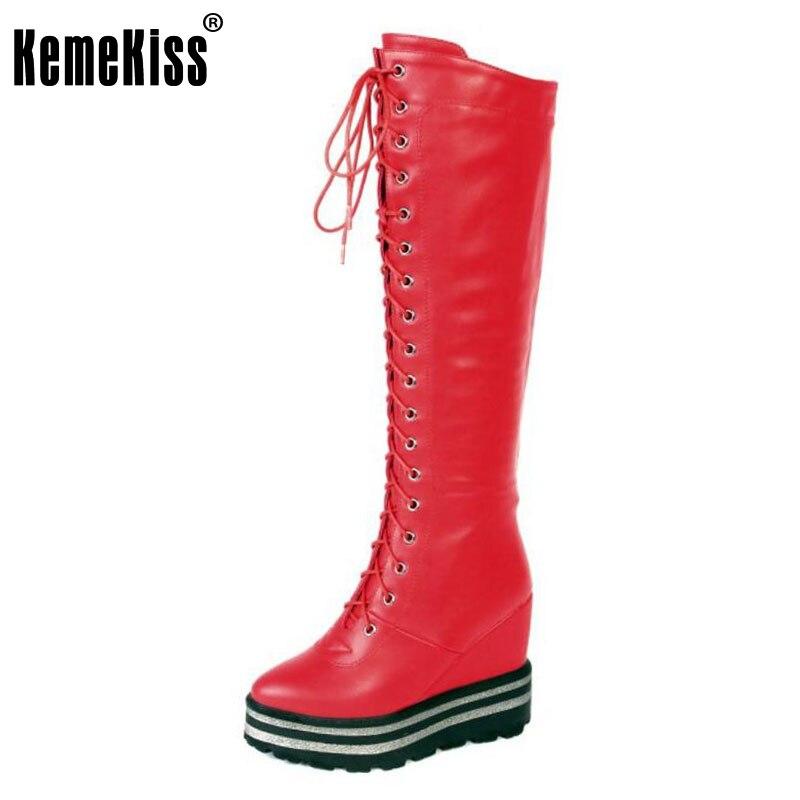 KemeKiss  Women Thick Platform Wedges Winter Boots For Women Cross Tied Pointed Toe Shoes Women Knee High Warm Botas Size 34-39 enmayer high heels pointed toe western boots shoes woman lace up cross tied ankle boots for women wedges plus size 34 42 womens