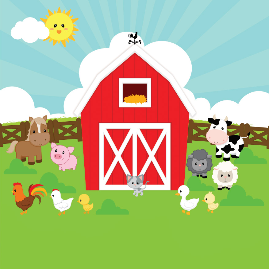 Farm Cottage Red Barn Barnyard Hens Cow Fence Green Garden backdrops Vinyl cloth Computer print children kids Background hugo s  l  hens performance based
