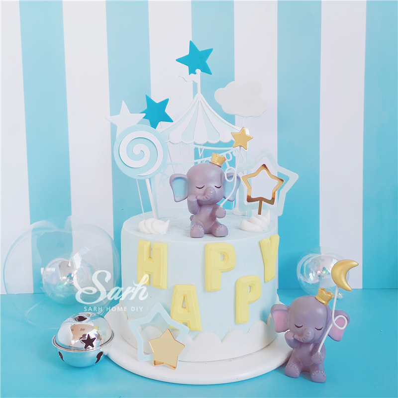 Image 5 - Bling Gold Silver Star Elephant Decorations Hairball Cake Toppers for Children's Day Anniversary Party Supplies Sweet Gifts-in Cake Decorating Supplies from Home & Garden