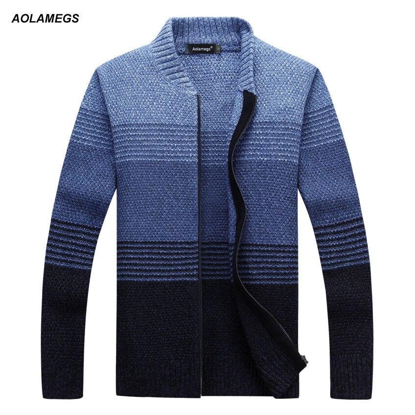 Aolamegs hommes chandail rayé Cardigan veste mode printemps automne Cardigan Homme rayures tricot chandail mâle loisirs Outwear