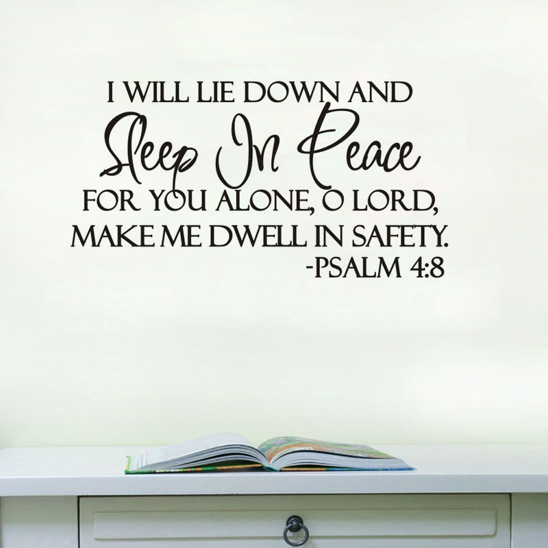 Dctop sleep in peace bible verse home decoration wall art for Stickers para pared de dormitorio