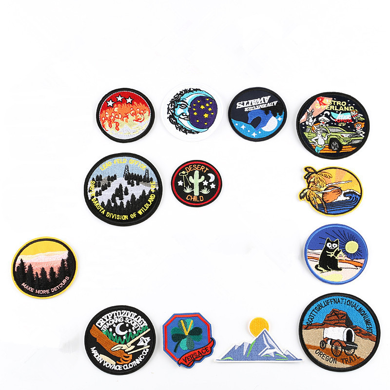Embroidered Patches for Clothing Iron on Badge Clothes Sticker Stripes Applique