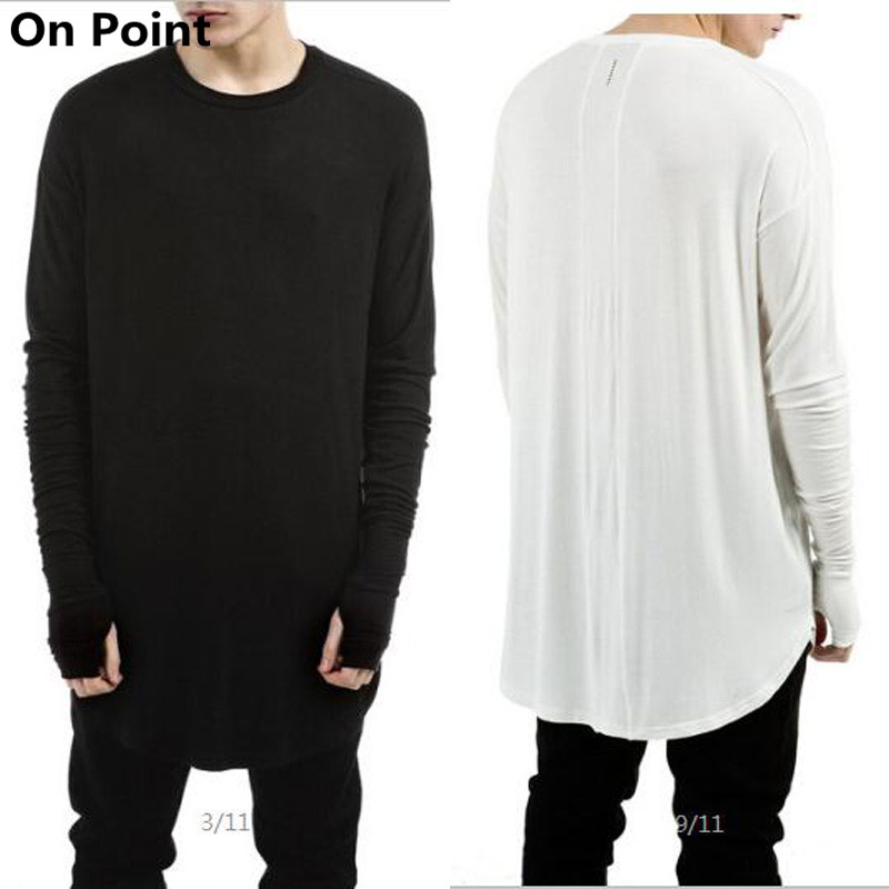 High fashion mens long sleeve curve bottom extended t for Mens long sleeve white t shirt