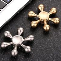 Six Arm Fidget Spinner Gold Silver EDC Hand Spinner Focus Anti Stress Adult Gifts Metal Hand