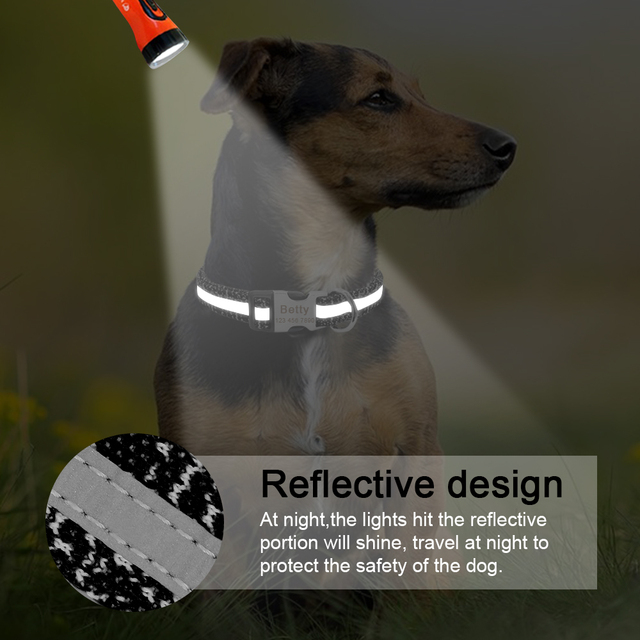 Dog Collar Personalized Reflective Dog Collars Custom Engraved Name Tag Collar Anti-lost Nylon Pet Collars For Medium Large Dogs 3