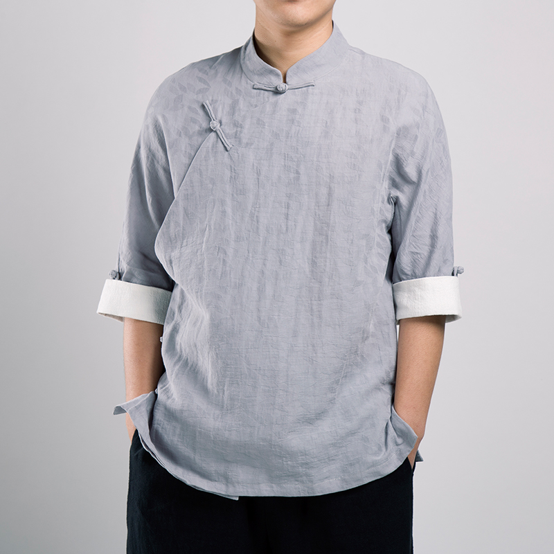 2019 nouveau traditionnelle chinoise vêtements pour hommes costume tang linge fluide hauts vêtement kung fu costumes pour hommes blouse chemisier hanfu kun