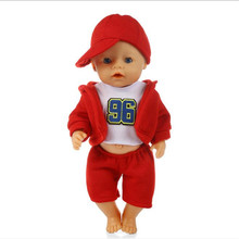 Doll Clothes Born New Baby Fit 18 inch 43cm Three Sportswear With Pink, Blue and Red Hat Doll Accessories For Baby Birthday Gift born new baby fit 18 inch 43cm clothes for doll blue pink red star with hairhand clothes accessories for baby birthday gift