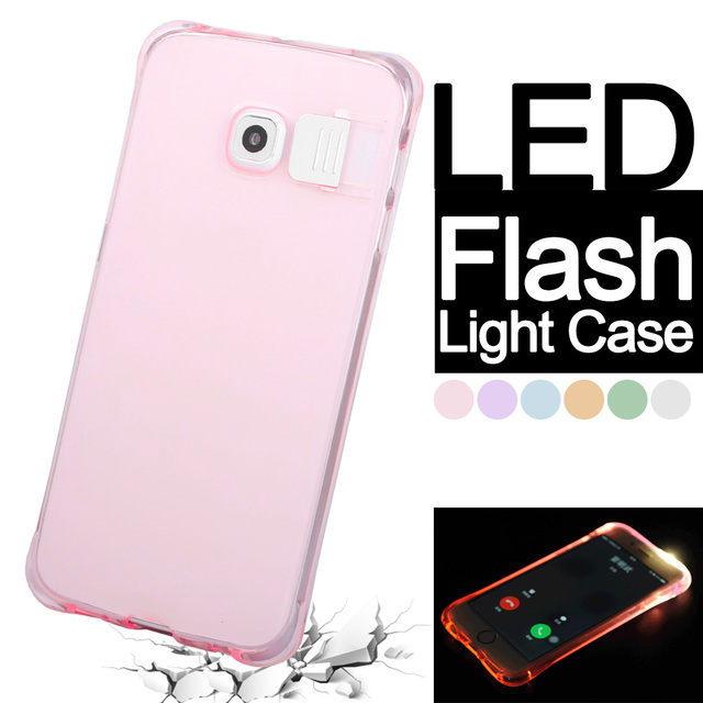 huge selection of 5c766 e2173 US $2.1 |S7 Silicon LED Flash Light UP Case For Samsung Galaxy S7 Edge Soft  TPU Luminous Remind Incoming Call Clear Cover for S6 Note 4 5 on ...
