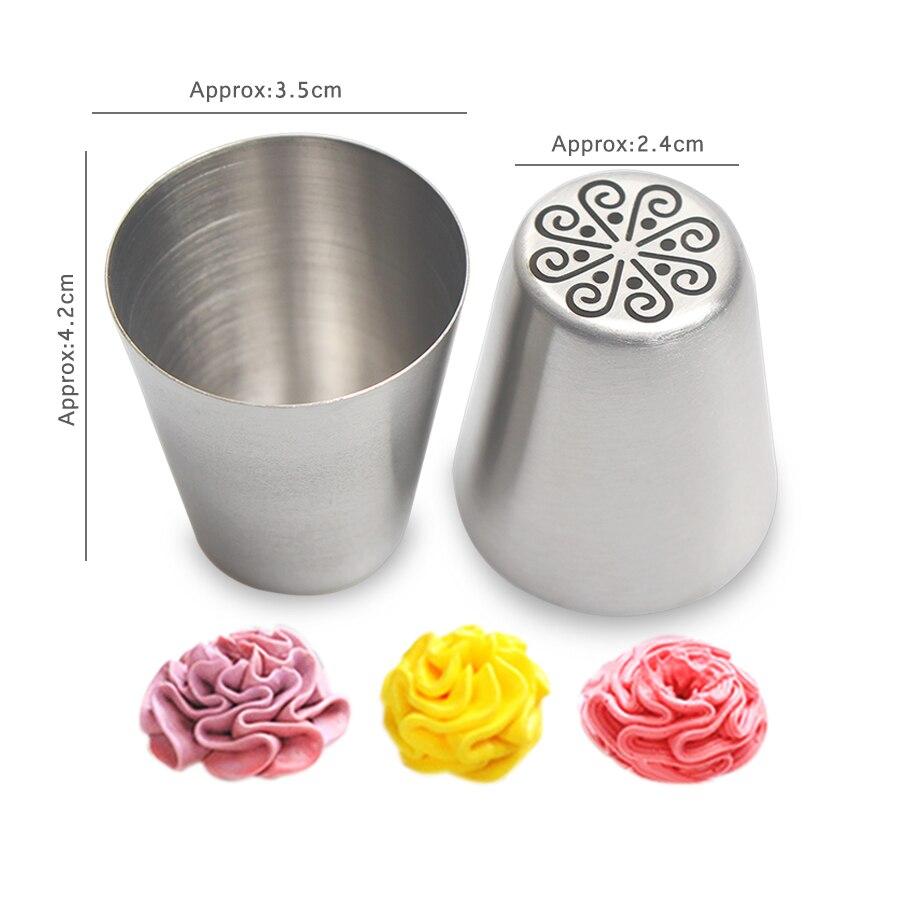 40x14 pc/conjunto de aço inoxidável russo tulipa piping bocais flor creme pastelaria dicas bocais silicone saco acessórios cozinha - 2