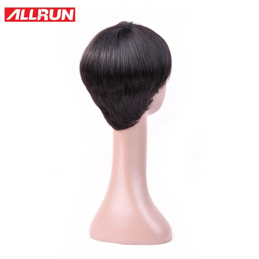 Allrun Brazilian Bob Straight Hair Non-Remy Short Human Hair Wigs Machine Made 6 Inch Human Hair Wigs Natural Color