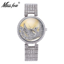 La señorita Fox Phoenix Mujeres de Negocios de gama Alta de Lujo de Diamantes de La Moda Señoras Reloj de Cuarzo Relojes Casuales