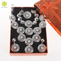 New Charms Clear Crystal Rhinestone Silver Plated Indian Wedding Bridal Jewelry Set Vintage Costume Women Jewelry Set+Gift Boxes