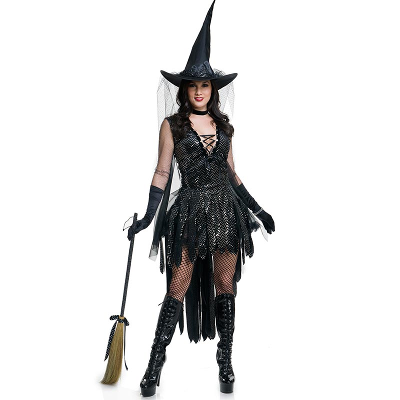 Penyihir seksi Wanita Hitam Sihir Momen Kostum Halloween Glamorous Penyihir Kostum L15533
