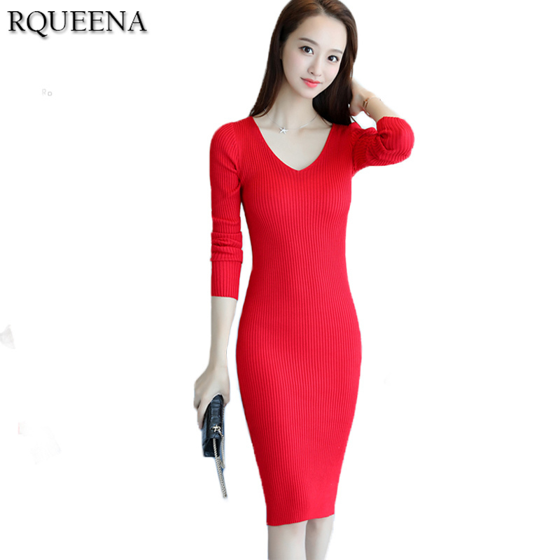Rqueena Korean Fashion Clothing Women Autumn Winter Sweater Dress Long Sleeve V Neck Bodycon Warm Knitted Cute Dresses Cheap цена