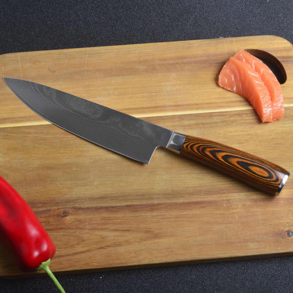 "Raja Laut 8 ""baru damaskus pisau baja damaskus bilah warna kayu menangani 8 inch chef pisau 71 lapisan damaskus pisau dapur"
