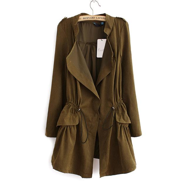2017 nuevo llega el otoño larga trinchera abrigos de manga completa con cordón de La Cintura femenina moda de la calle casual wear tops