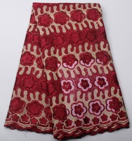Hot Selling Wine Red Net Lace Fabirc High Quality African French Lace Fabric With Stones For