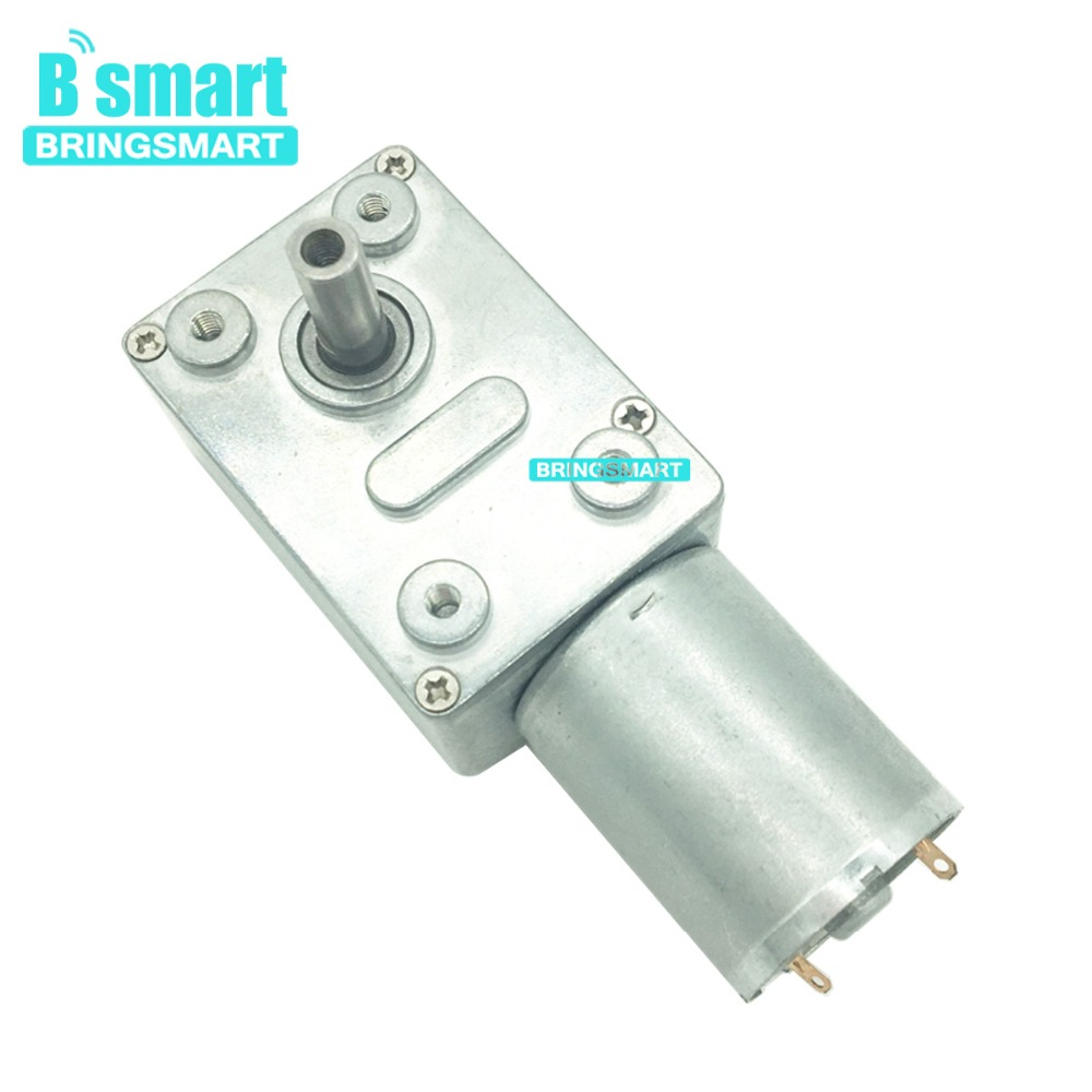 Bringsmart JGY-370 Geared Motor 12V DC Worm Gear Motor 24 volt Mini Gearbox Engine Self-locking Positive Inversion Reducer bringsmart worm gear motor 12v dc stepper motors reducer self locking mini gearbox 24 volt micro electric tool a58sw 42by
