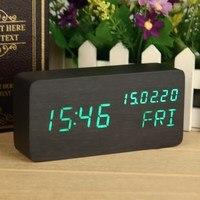 데스크탑 디지털 시계 나무 알람 시계 창조적 인 LED 테이블 시계 음성 제어 날짜 시간 달력 디스플레이 블랙 녹색