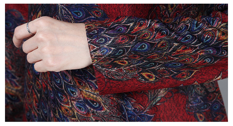 2019 New Women Spring Autumn Dresses Turtleneck Printed Female Long Sleeve Vintage Robe Dress Vestido 78