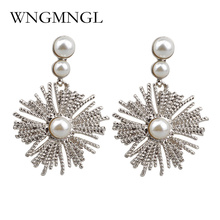 WNGMNGL Bright Gold Silver Color Simulated Pearl Earrings For Women 2018 New Fashion Jewelry Drop Bijoux Cute Gift