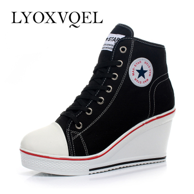 Black White Women Shoes Platform Hidden Wedge Boots Shoes For Women High Heel Top Canvas Shoes Casual Shoes Ladies 35-42