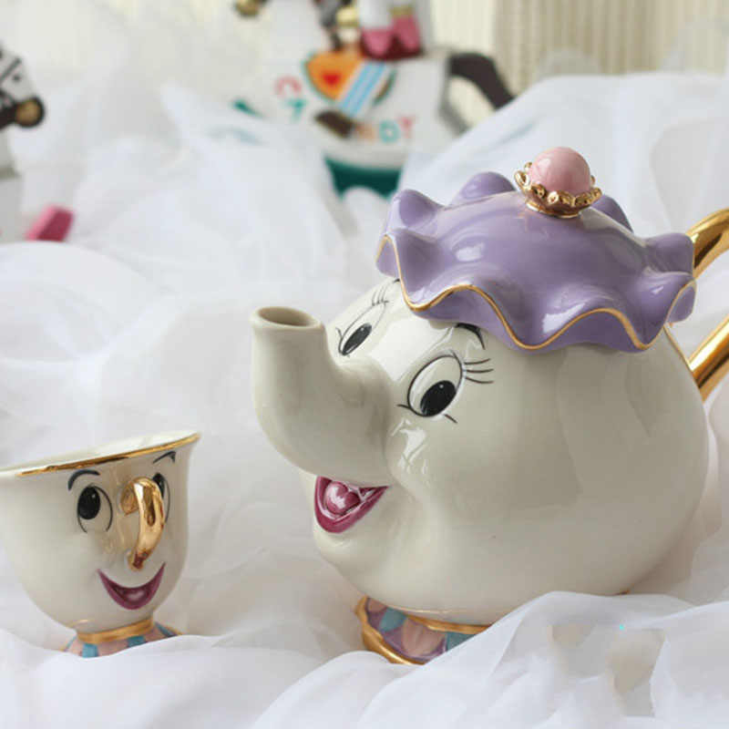 Hot sale Cartoon Beauty And The Beast Teapot Mug Mrs Potts Chip Tea Pot Cup 2PCS One Set for gift two style