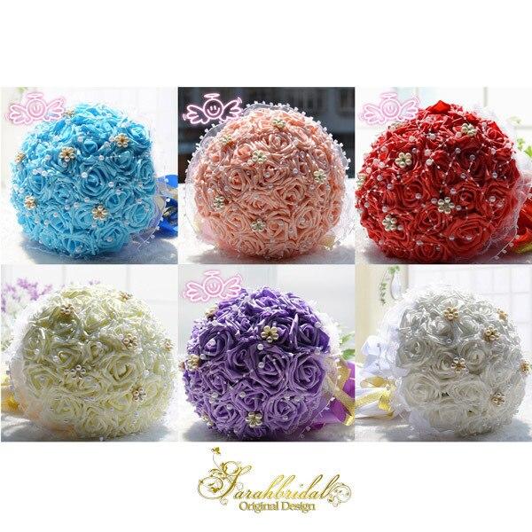 Red Handmade Flower Bridal Wedding Bouquet  Silk Satin Rose Luxury Pearl Artificial Wedding Throw Bouquet In Stock WF004