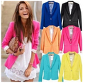 Hot Fashion Blazer Feminino 2015 Spring Women Blazers and Jackets Yellow Blazer Feminino Plus Size Womens Blazer Female Clothes