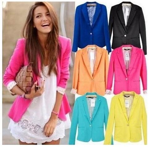 b6195188aa Hot Fashion Blazer Feminino 2015 Spring Women Blazers and Jackets Yellow Blazer  Feminino Plus Size Womens