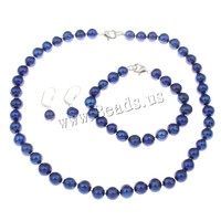 Free Shipping Natural Cultured Freshwater Pearl Jewelry Sets 2015 Designers For Men Bracelet Earring Necklace
